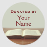 Customizable Book Donation Stickers Add Your Name