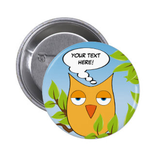 Customizable bored little owl - multiple colors pins