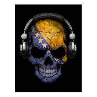 Customizable Bosnian Dj Skull with Headphones Postcard