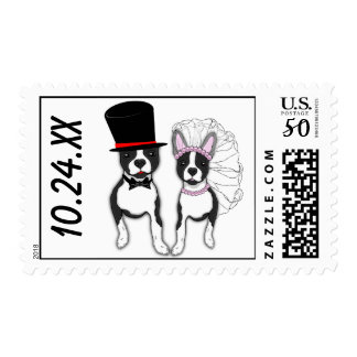 Customizable Boston Terrier Bride And Groom Couple Postage