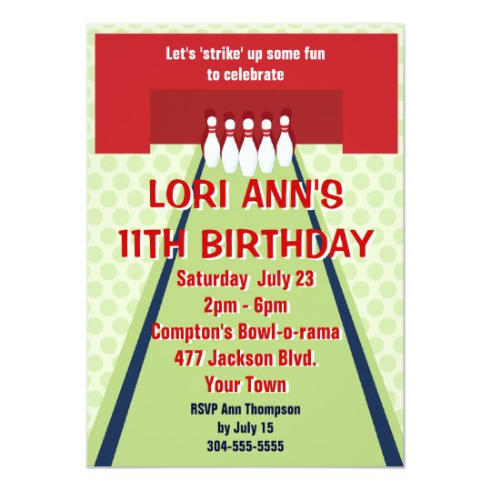 Customizable Bowling Birthday Party Card