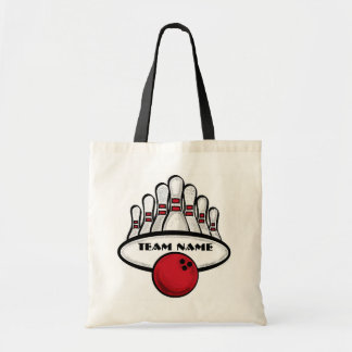Customizable bowling team red theme bag