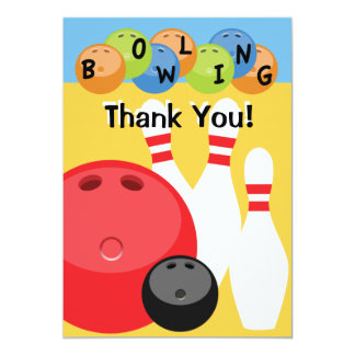 Customizable Bowling Thank You 5x7 Paper Invitation Card