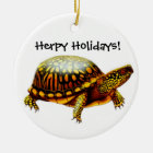 Customizable Box Turtle Holiday Ornament