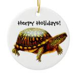 Customizable Box Turtle Holiday Ornament