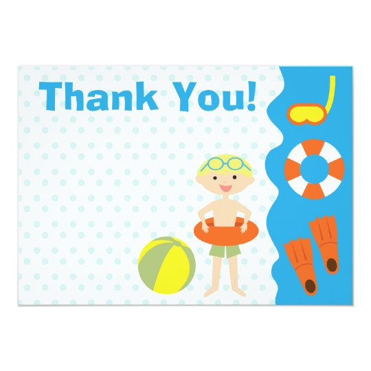 Customizable Boy's Pool Party Birthday Thank You Card