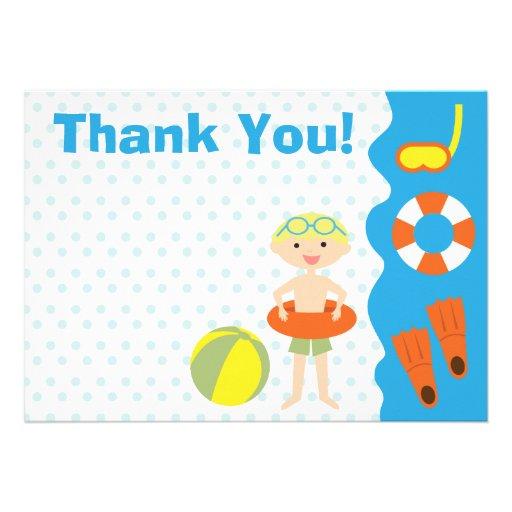 Customizable Boy's Pool Party Birthday Thank You Custom Invitations