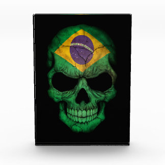 Customizable Brazilian Flag Skull Acrylic Award