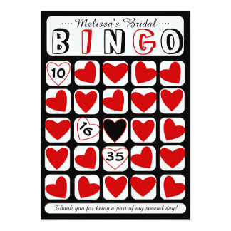 Customizable bridal bingo game red black card