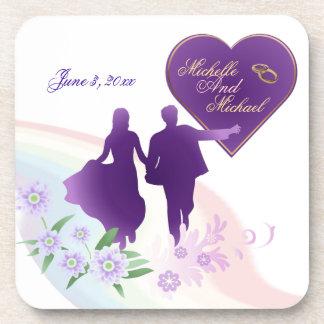 Customizable Bride Groom Keepsake Cork Coasters