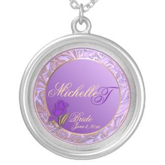 Customizable Brides Shades of Lavender Keepsake Round Pendant Necklace