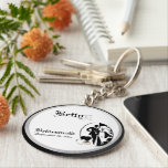 "Customizable Bridesmaids Keepsake Keychain<br><div class=""desc"">Classic Black and White Bridesmaids Keepsake Keychain. Replace Bridesmaids First Name and last name initial with correct information, and the date of your marriage, on this elegant keepsake Keychain, in the &quot;Personalize It&quot; box on the right of this product page. You may choose to change and/or delete any of the...</div>"