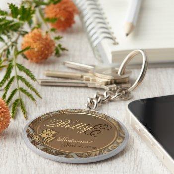 Customizable Bridesmaids Keepsake Keychain by 4westies at Zazzle