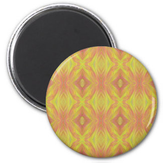 Customizable Bright Yellow Peach Tribal Pattern Magnet
