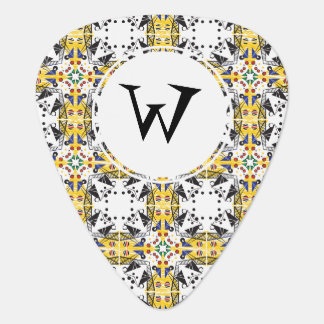 Customizable Brightly Colored Geometric Pattern Guitar Pick