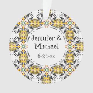 Customizable Brightly Colored Geometric Pattern Ornament