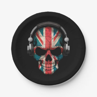 Customizable British Dj Skull with Headphones Paper Plate