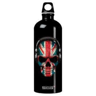 Customizable British Dj Skull with Headphones Water Bottle