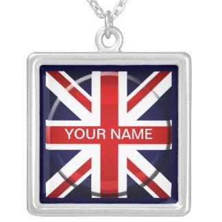 Customizable British Flag Name Square Pendant Necklace