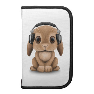 Customizable Brown Dj Bunny with Headphones Organizer