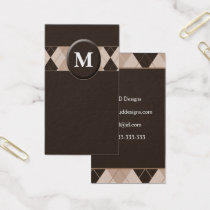 Customizable Brown Monogram Business Cards