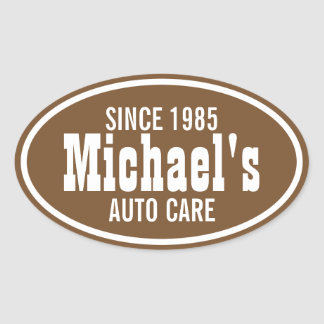 Customizable Brown Western Business Promo Oval Sticker
