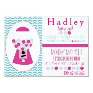 Customizable Bubblegum Party Invitation