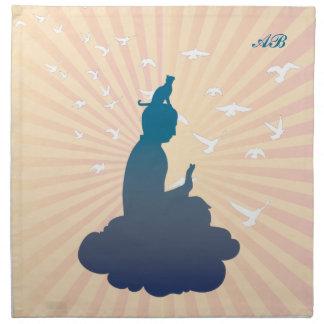 Customizable: Buddha and kitty on a cloud Napkin