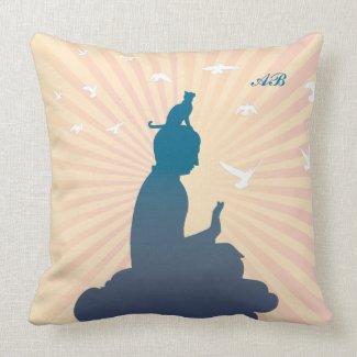 Customizable: Buddha and kitty on a cloud