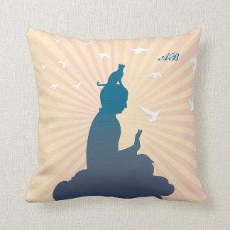 Customizable: Buddha and kitty on a cloud Throw Pillow