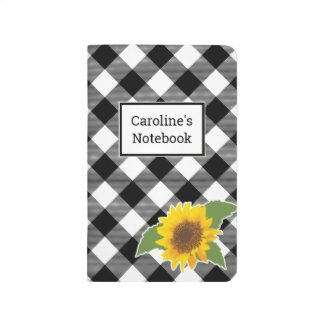 Customizable Buffalo Plaid Sunflower Journal