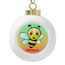 Customizable Bumblebee Ceramic Ball Christmas Ornament