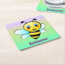 Customizable Bumblebee Square Paper Coaster