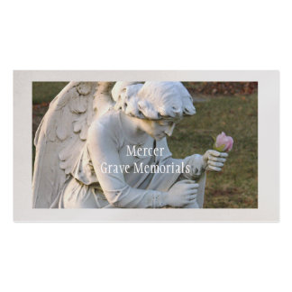 """CUSTOMIZABLE BUS. CARD/""""ANGEL WITH ROSE"""" MEMORIAL BUSINESS CARD"""