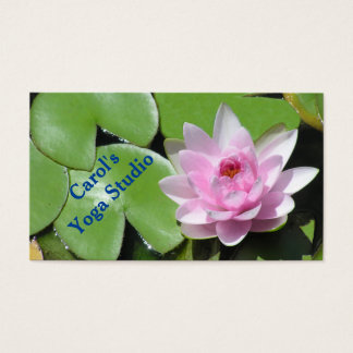 CUSTOMIZABLE BUS.CARD /PINK LOTUS BLOSSOM/GREEN LI BUSINESS CARD