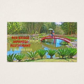 CUSTOMIZABLE BUS.CARD /RED JAPANESE BRIDGE /POND BUSINESS CARD