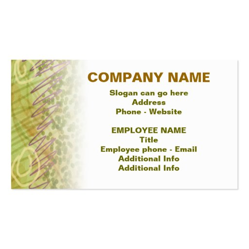 Customizable Business Card - Olive Medley Side