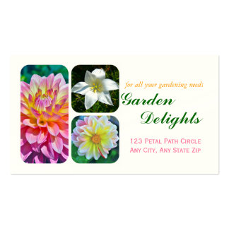 """CUSTOMIZABLE BUSINESS CARD,""""TRIO OF FLOWERS"""" BUSINESS CARD"""