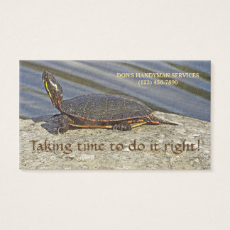CUSTOMIZABLE BUSINESS CARD WITH TURTLE ON ROCK