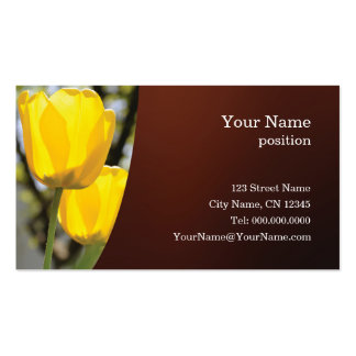 Customizable business card with yellow tulips