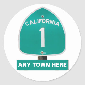 """Customizable CA Highway 1 """"Any Town Here"""" Stickers"""