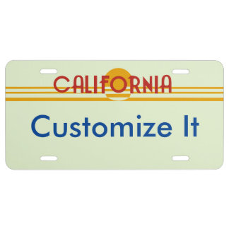 Customizable California License License Plate