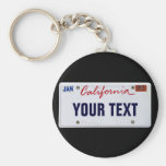 (Customizable) California License Plate Basic Round Button Keychain