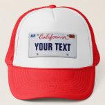"(Customizable) California License Plate Trucker Hat<br><div class=""desc"">Insert your name or whatever</div>"