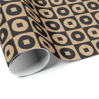 Customizable Camel Brown/Black Square-Circle Wrapping Paper