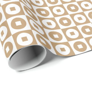 Customizable Camel Brown/White Square-Circle Wrapping Paper