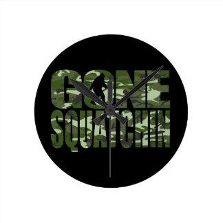 Customizable Camo Gone Squatchin Round Clock