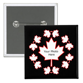 Customizable Canada Maple Leaf Picture Frame 2 Inch Square Button