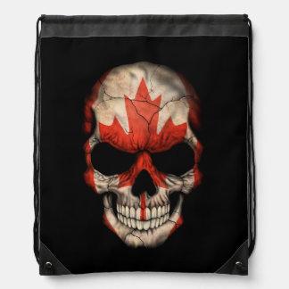 Customizable Canadian Flag Skull Drawstring Backpack