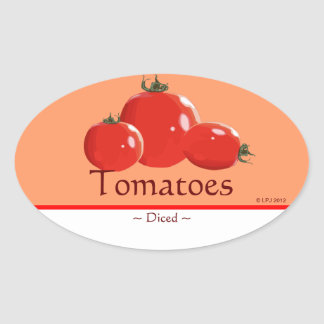 Customizable Canned Tomatoes Oval Sticker